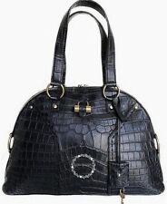 AUTHENTIC YSL BLACK MATTE CROCODILE ALLIGATOR NEW MUSE SATCHEL BAG HANDBAG L NWT