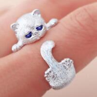 925 Sterling Silber gestempelt Weiß Gold Cute Kitty Cat Paw verstellbarer Ring