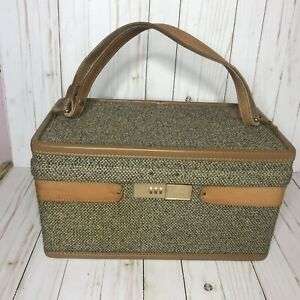 """Vintage Hartmann Luggage 15"""" Brown Tweed Woodbox Cosmetic Train Case Lock AS IS"""