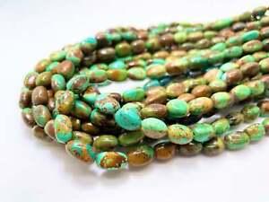 Arizona Kingman Genuine Turquoise Natural Oval Round Loose Gemstone Beads PGS338