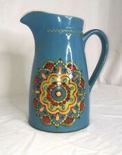 Ceramic Teal Pitcher with flower design very good