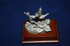 New listing Vintage Pewter Cardinal / Bird On Branch With Wood Base