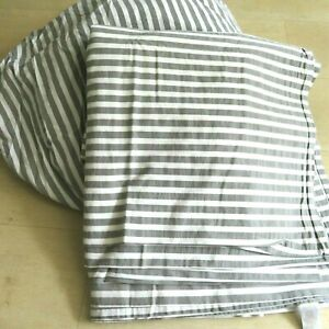 West Elm King Size Washed Cotton Sheet Set White Gray Stripe 1 Fitted 1 Flat