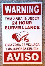 Security Video Surveillance Warning 24 Hr Coroplast Sign 8x12 Spanish English rd