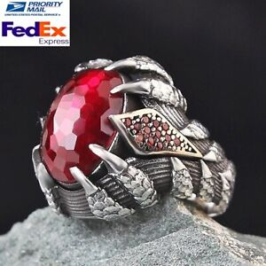 Claw Paw Design Ruby Red Stone Turkish 925 Sterling Silver Handmade Mens Ring