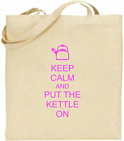 Keep Calm And Put The Kettle on Large Cotton Tote Shopping Bag Fun Present Xmas
