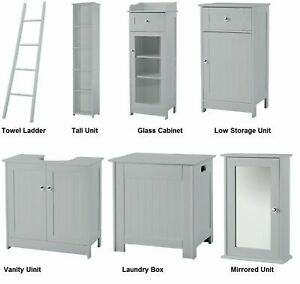 Alaska Grey Bathroom Furniture Range -Mirrored Cabinets,Towel Ladder&Tall Unit