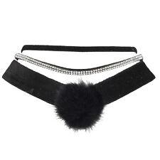 Lux Accessories Black Velvet Crystal Diamond Pom Collar Choker Necklace Set