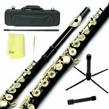 Sky Black Gold C Open Hole Flute w Case, Stand, Cleaning Rod, Cloth and More