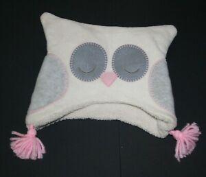 Used Baby Gap Girls 5T M L Hat Winter Fleece Warm Owl Face Ivory Gray Pink Soft