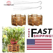 "Wooden Octagon 10"" Hanging Baskets (2-Pcs) Outdoor Orchid Holder Garden Decor"