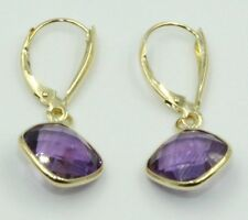 Purple Amethyst Dangle Earrings,14K Yellow Gold Thick Leverbacks