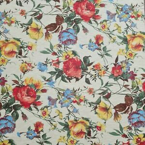 """Jersey T-Shirt Fabric Floral Rose Printed Ivory Cotton  2 Way Stretch 55"""" Wide"""