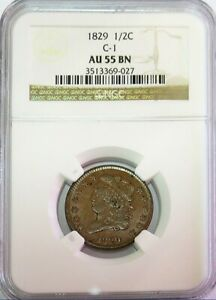 1829 UNITED STATES HALF CENT CLASSIC HEAD COIN C-1 NGC ABOUT UNC 55 BROWN