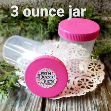 6 Plastic Jar Bottle PINK Cap Screw Top 3 ounce Snack Mix Jars 5314 DecoJars