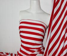Red/White Stripes Lycra/Spandex 4 way stretch Matt Finish Fabric