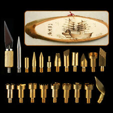 22PCS  Wood Burning Tool Kit Craft Soldering Pyrography Art Pen Brass Tips Set