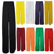 New Ladies Plus Size Plain Wide Leg Stretch Bottoms Palazzos 16-26