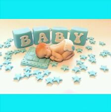 1 edible BABY and BLOCKS  stars blanket cake topper BABY shower Christening boy