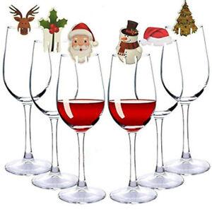 CHRISTMAS Festive Glass Decorations, Santa Hat, Reindeer, Holly, (10 Pack)
