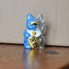 """Real x Head Fortune Cat 2.5"""" - Clear Molding / Meta Blue Two Tone - Maneki Neko"""