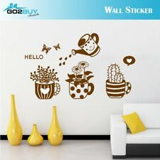 Wall Stickers Removable Plants Kettle Watering Pot Living Room Decal Picture Art