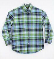 Orvis Button Down Long Sleeve Plaid Shirt Blue Green White Size Medium