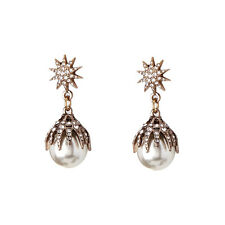 Vintage Gold Crystals Pearls Ball Pin Lady's Earrings