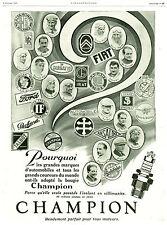 Publicité ancienne automobile bougie Champion 1925 issue de magazine