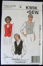KwikSew Pattern #3128 Misses Fitted Lined Vest Button Closure Size (XS-S-M-L-XL)