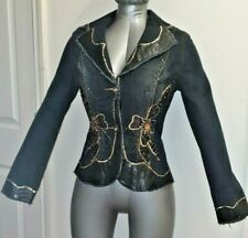 Ladies embellished Denim Casual Biker jacket sequin faux leather, beading SIZE M