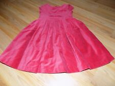 Girls Size 6 Gymboree Solid Red Velour Holiday Dress Pleated Skirt Capped Sleeve