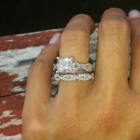 2.50 Ct Princess Cut Diamond 14K White Gold Over Twist Engagement Bridal Ring