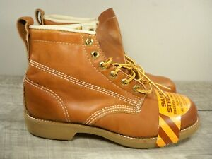 New Old Stock Men's Brown Leather Work Lace Up Hunting Steel Toe Boots Size 7