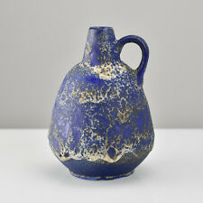 Ruscha Fat Lava Handled Pottery Jug Vase Mid Century Modern Tschorner Era blue