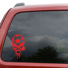 "Soccer Blood Dripping Skull Car Window Decor Vinyl Decal Sticker- 6"" Tall White"