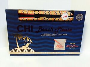 """CHI Beach Please 1"""" Ceramic Hairstyling Iron with Tote"""