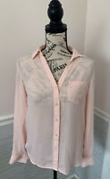 Women's The Limited Sheer Light Pink Blouse Long Sleeve XS