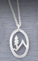 """Far Fetched MOUNTAIN TREE Necklace Pendant 16-18"""" Silver Chain + Wrapped Box"""