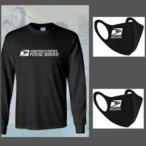 United Postal Service White Logo USPS T-shirt black Long Sleeve Tee, 2 mask free