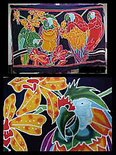 Batik Sarong Made in Bali Parrots and Orchid Design