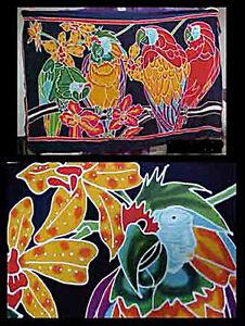 Batik Sarong Made in Bali Parrots and Orchid Design