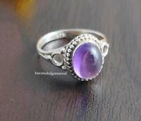 Amethyst Silver Ring 925 Solid Sterling Silver Handmade Jewelry.SIZE All US