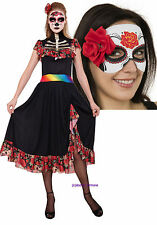 Ladies Mexican Day of the Dead Halloween Corpse Bride Fancy Dress Costume + MASK