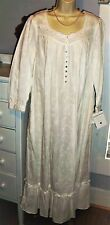 NWT L Large Eileen POCKETS West Nightgown 100% Cotton NEW Gown 3/4 Button Sleeve