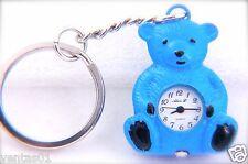 CUTE BEAR KEYCHAIN BLUE TONE KEY RING QUARTZ WATCH BY ALEX, L