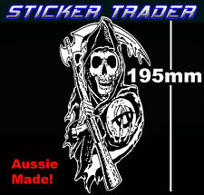 Sons Of Anarchy Skull Reaper Sticker Suit Toolbox Bar Fridge Mancave Motor Bike