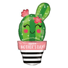 Happy Mothers Day Cactus Flowerpot  Giant Foil Balloon  Decoration Party Events