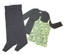 New Justice Black Yoga Pants Long Sleeve Shirt Neon Green Jungle Cami Sz 10 12 L