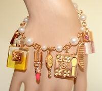 BRACELET femme chaîne OR perles pendentifs maquillage parfum rouge à lèvres N4